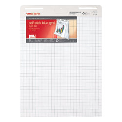 "Office Depot® Brand 80% Recycled Restickable Easel Pad With Liner, 25"" x 35 1/2"", Blue Grid, 30 Sheets, White"