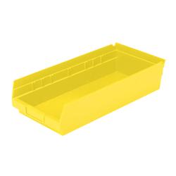 """Akro-Mils Grease/Oil Resistant Shelf Bin, 4"""" x 8 3/8"""" x 18"""", Yellow"""