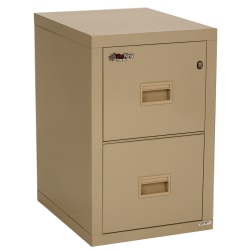 """FireKing® Turtle 22-1/8""""D Vertical 2-Drawer Insulated Fireproof File Cabinet, Metal, Parchment, White Glove Delivery"""