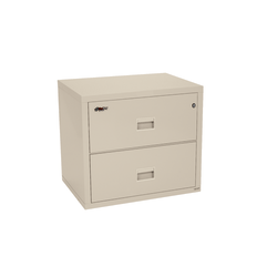 "FireKing® Turtle 31-1/8""W Lateral 2-Drawer Insulated Fireproof File Cabinet, Metal, Parchment, White Glove Delivery"