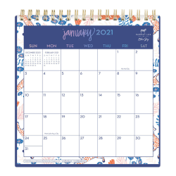 "Blue Sky™ Dabney Lee Monthly Desk Calendar With Stand, 6-1/16"" x 6-3/8"", Enchanted Forest, January To December 2021, 122357"