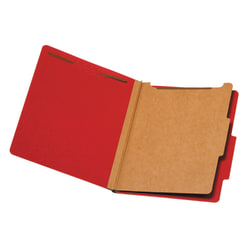 "Office Depot® Pressboard Classification Folders, Letter Size (8-1/2"" x 11""), 1-3/4"" Expansion, Bright Red, Box Of 10"