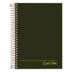 """Ampad Gold Fibre Personal Compact Notebooks - 130 Sheets - Double Wire Spiral - 5"""" x 7"""" - Green Cover - Micro Perforated, Pocket - 1Each"""