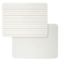 "Charles Leonard 2-Sided Plain/Lined Magnetic Dry-Erase Lap Boards, 9"" x 12"", White, Pack Of 4"