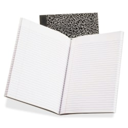 """Oxford College Rule Composition Notebook - 80 Sheets - Sewn - Ruled - 7 7/8"""" x 10"""" - White Paper - Black Cover Marble - Board Cover - 1Each"""