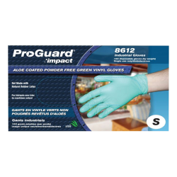 ProGuard Plus Aloe Coated Disposable Vinyl Powder Free General Purpose Gloves - Small Size - Vinyl - Green - Powder-free, Disposable, Beaded Cuff, Ambidextrous, Durable, Comfortable - For Food Handling, Cleaning, Painting, Manufacturing, Assembling -