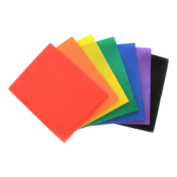 Inkology 2-Pocket Poly Portfolios Without Metal Prongs, Letter Sized, Assorted Colors, Pack Of 48
