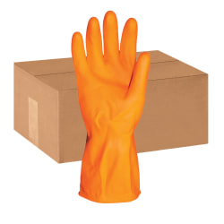 """ProGuard Deluxe Flock Lined 12"""" Latex Gloves - Small Size - Latex - Orange - Embossed Grip, Extra Heavyweight, Durable, Acid Resistant, Alcohol Resistant, Alkali Resistant, Abrasion Resistant, Tear Resistant, Long Lasting, Detergent Resistant"""