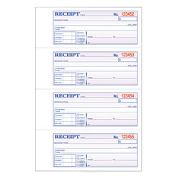 "Adams® Carbonless 2-Part Money/Rent Receipt Book, 7 5/8"" x 11"", Book Of 200 Sets"