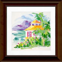 """Timeless Frames Katrina Framed Coastal Artwork, 12"""" x 12"""", Brown, Caribbean Cottage I"""