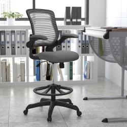 Flash Furniture Ergonomic Mesh Mid-Back Drafting Chair, Dark Gray