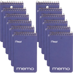 """Mead Wirebound Memo Book - 60 Sheets - 120 Pages - Wire Bound - College Ruled - 3"""" x 5"""" - White Paper - Assorted Cover - Cardboard Cover - Stiff-back, Hole-punched - 12 / Pack"""