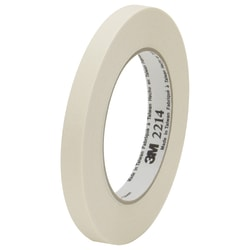 "3M™ 2214 Masking Tape, 3"" Core, 0.5"" x 180', Natural, Case Of 12"