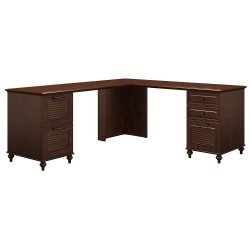 kathy ireland® Home by Bush Furniture Volcano Dusk L-Shaped Desk With 2 Pedestals, Coastal Cherry, Standard Delivery