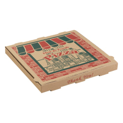 """ARVCO Corrugated Pizza Boxes, 10"""" x 10"""" x 1 3/4"""", Kraft, Pack Of 50 Boxes"""