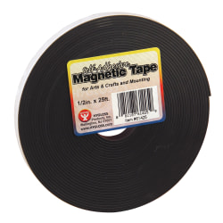 "Hygloss Magnetic Tape Strips, 0.5"" x 8.33 Yd., Black, Pack Of 3"