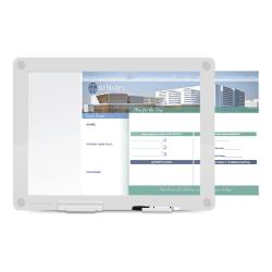 "WorkPro™ Custom Print Glass Non-Magnetic Unframed Dry-Erase Presentation Whiteboard, 24 1/2"" x 18 1/2"", White"