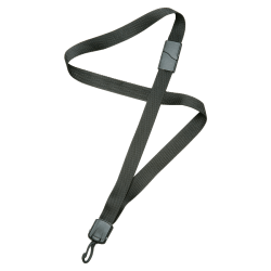 """SKILCRAFT® Deluxe Lanyard With Swivel Hook, 36"""", Black, Pack Of 12 (AbilityOne 8455-01-613-0197)"""