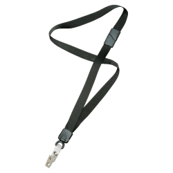 "SKILCRAFT® Deluxe Lanyard With Bulldog Clip, 36"", Black, Pack Of 12 (AbilityOne 8455-01-613-0200)"