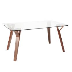 """LumiSource Folia Dining Table, 30-1/2""""H x 38""""W x 63-1/4""""D, Walnut/Clear"""
