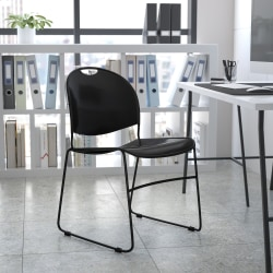 Flash Furniture HERCULES Plastic Ultra-Compact Stack Chair, Black