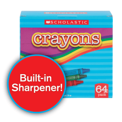 Scholastic Standard Crayons with Built-In Sharpener, Assorted Colors, Pack Of 64