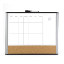 "U Brands Magnetic MOD 3-In-1 Magnetic Dry-Erase Calendar Board, Painted Steel, 20"" x 16"", Black Plastic Frame"