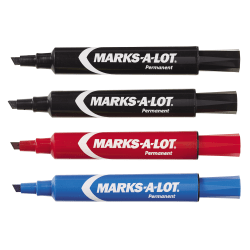 Avery Regular Desk Style Permanent Markers, Chisel Point, Black/Blue/Red Inks, Pack Of 4