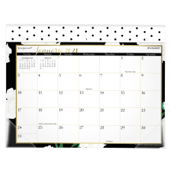 "See Jane Work® For AT-A-GLANCE® White Roses Mini Monthly Desk Pad Calendar, 11"" x 8-1/2"", January To December 2021, SJ110-706"