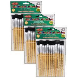 Charles Leonard Easel Paint Brushes, Flat Tip, Natural Handle, 12 Brushes Per Pack, Case Of 3 Packs