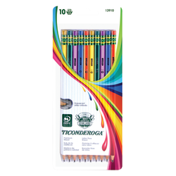 Ticonderoga® Striped Wood Pencils, #2 Soft Lead, Pre-sharpened, Assorted Colors, Pack Of 10