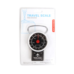 "Kikkerland Design Inc. Travel Luggage Scale, 7 1/2""H x 3 3/16""W x 1 5/16""D, Black"