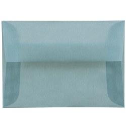 """JAM Paper® Translucent Envelopes With Gummed Closure, #4 Bar (A1), 3 5/8"""" x 5 1/8"""", Ocean Blue, Pack Of 25"""