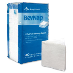"Georgia-Pacific BevNap 1-Ply Beverage Napkins, 9 1/2"" x 9 1/2"", White, 500 Napkins Per Pack, Carton Of 4000"