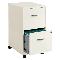 "Lorell® 18""D Vertical 2-Drawer Mobile File Cabinet, Metal, Pearl White"