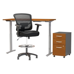 """Move 60 Series by Bush Business Furniture 60""""W Height Adjustable Standing Desk With Storage And Drafting Chair, Natural Cherry, Standard Delivery"""