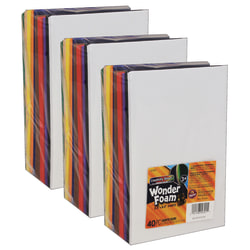 """Creativity Street WonderFoam Sheets, 5-1/2"""" x 8-1/2"""", Assorted Colors, 40 Sheets Per Pack, Case Of 3 Packs"""