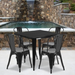 """Flash Furniture Commercial-Grade Square Metal Table Set With 4 Stack Chairs, 29-1/2""""H x 31-1/2""""W x 31-1/2""""D, Black"""