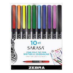 Zebra Sarasa Fineliner Pens, Needle Point, Medium Point, 0.8 mm, Assorted Colors, Pack Of 10