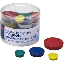 Officemate Heavy-Duty Magnets, Assorted Colors, Pack Of 30