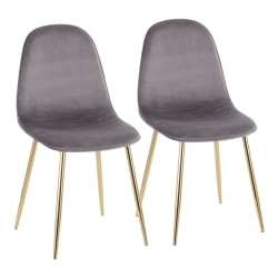 LumiSource Pebble Velvet Chairs, Gray/Gold, Set Of 2 Chairs
