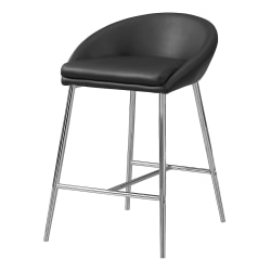 Monarch Specialties Counter-Height Bar Stools, Black/Chrome, Set Of 2