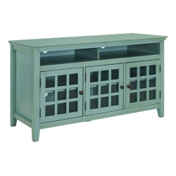"""Linon Home Décor Products Henry 3-Door Media Console, 27""""H x 48""""W x 20""""D, Turquoise"""