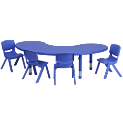 """Flash Furniture Half-Moon Plastic Height-Adjustable Activity Table Set With 4 Chairs, 23-3/4""""H x 35""""W x 65""""D, Blue"""