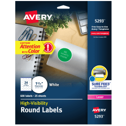 """Avery® High-Visibility Print-To-The-Edge Permanent Laser Labels, 5293, 1 2/3"""" Diameter, White, Pack Of 600"""