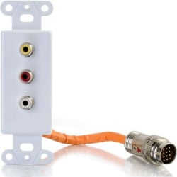 C2G RapidRun Composite Video + RCA Stereo Audio Decorative Style Wall Plate - White - White - 3 x RCA Port(s)