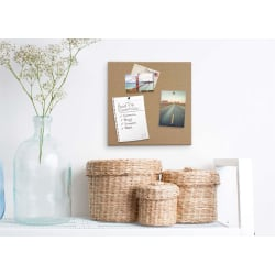 "U Brands Non-Magnetic Unframed Cork Canvas Bulletin Board, 23"" x 17"", Natural"
