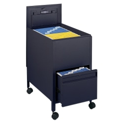 """Safco® Letter Tub File With Drawer, 28""""H x 17""""W x 25 3/4""""D, Black"""