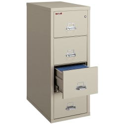 """FireKing® UL 1-Hour 31-5/8""""D Vertical 4-Drawer Letter-Size File Cabinet, Metal, Parchment, White Glove Delivery"""
