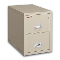 """FireKing® 25""""D Vertical 2-Drawer Letter-Size File Cabinet, Metal, Parchment, White Glove Delivery"""
